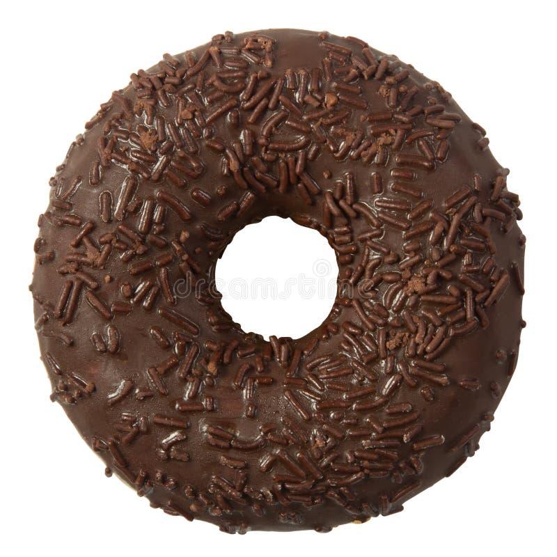 巧克力多福饼与在白色背景洒隔绝 免版税库存图片