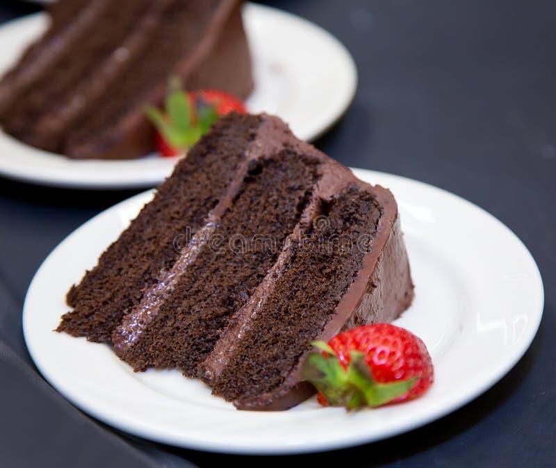 巧克力夹心蛋糕-切片 免版税库存图片