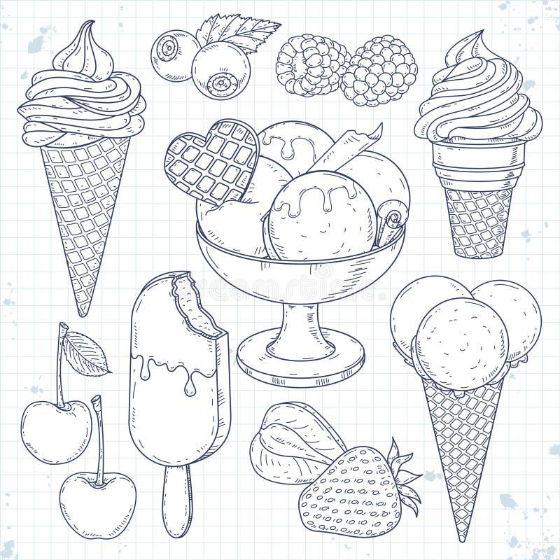 巧克力奶油色果子冰集 手拉的例证,冰淇凌在奶蛋烘饼杯子和不同的莓果图片