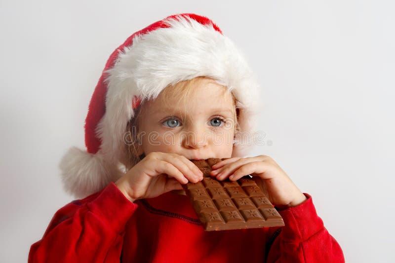 巧克力小的圣诞老人 库存照片