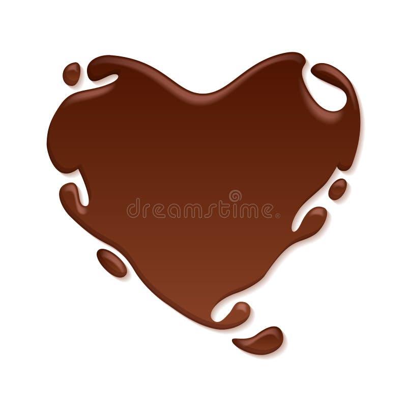 巧克力心脏飞溅 背景甜点 向量例证