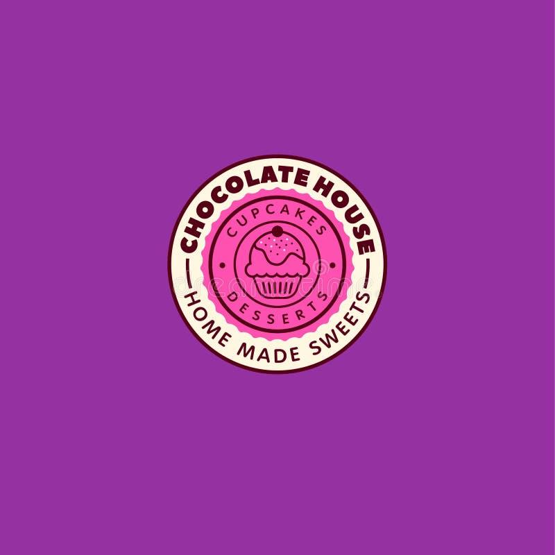 巧克力房子商标 咖啡馆标签 在一个圈子的杯形蛋糕信件在紫色背景 向量例证