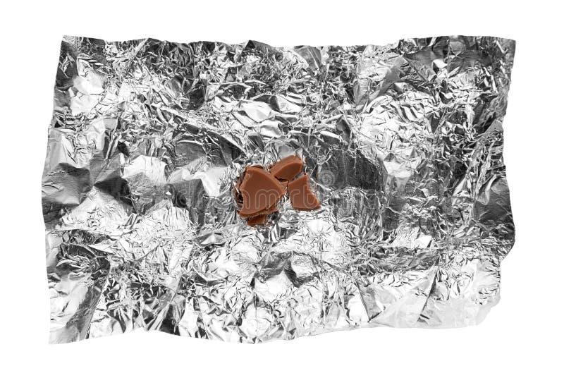 巧克力捏碎箔锡 免版税库存图片