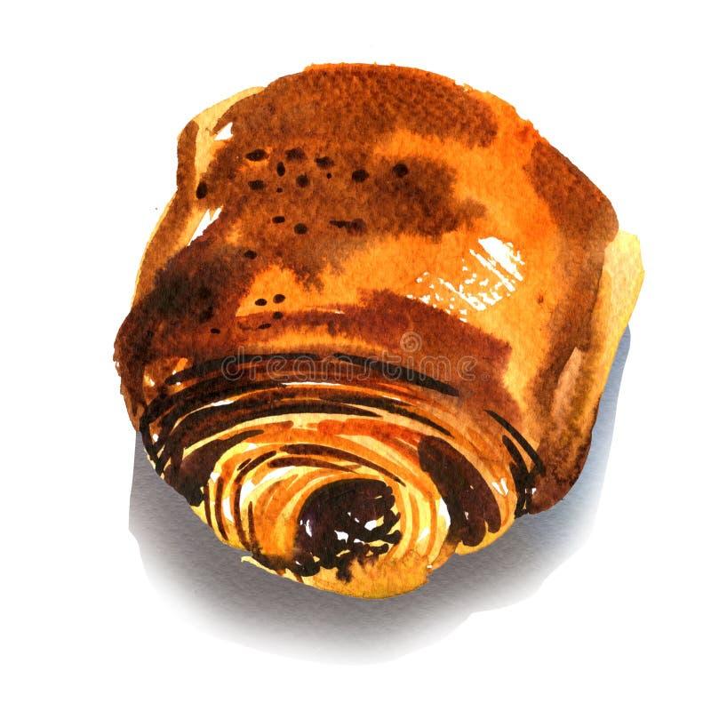 巧克力新月形面包,甜小圆面包用巧克力,新近地被烘烤的法国自创卷,油酥点心小圆面包,被隔绝,手 向量例证