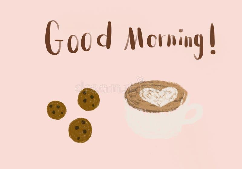 巧克力曲奇饼和拿铁艺术咖啡在一个白色杯子有心形拿铁艺术的在桃红色背景 免版税库存图片