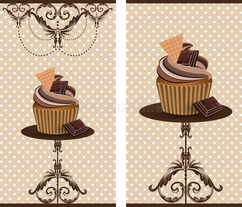 巧克力杯子蛋糕 皇族释放例证
