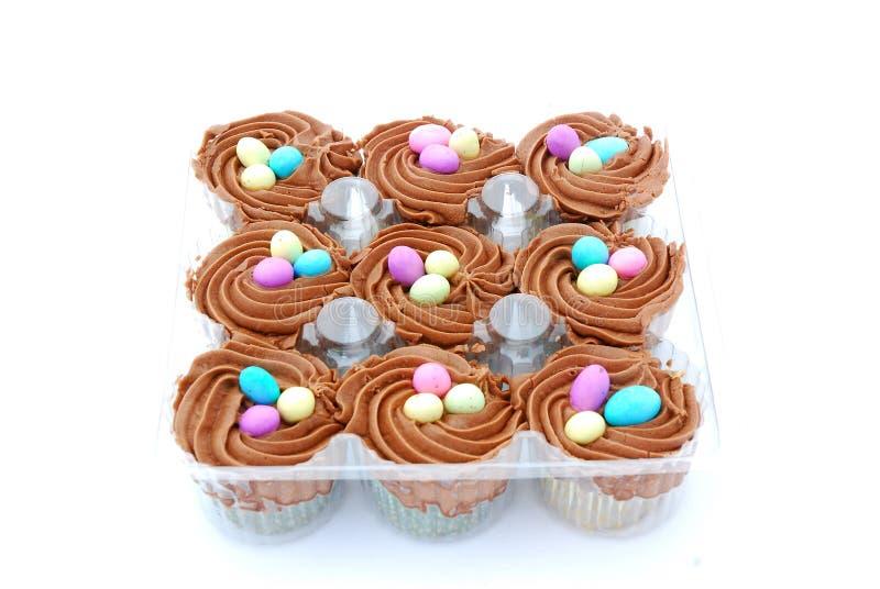 巧克力杯形蛋糕复活节 免版税库存照片