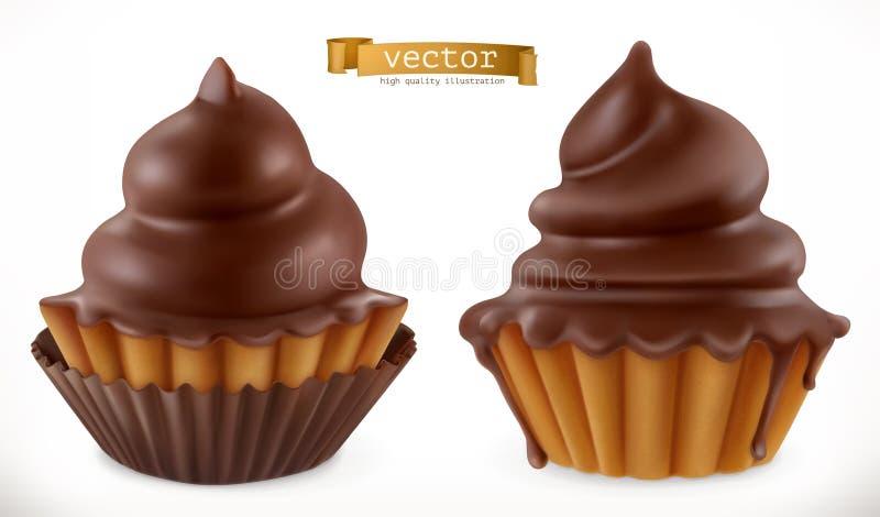 巧克力杯形蛋糕,神仙的蛋糕 3d图标向量 皇族释放例证