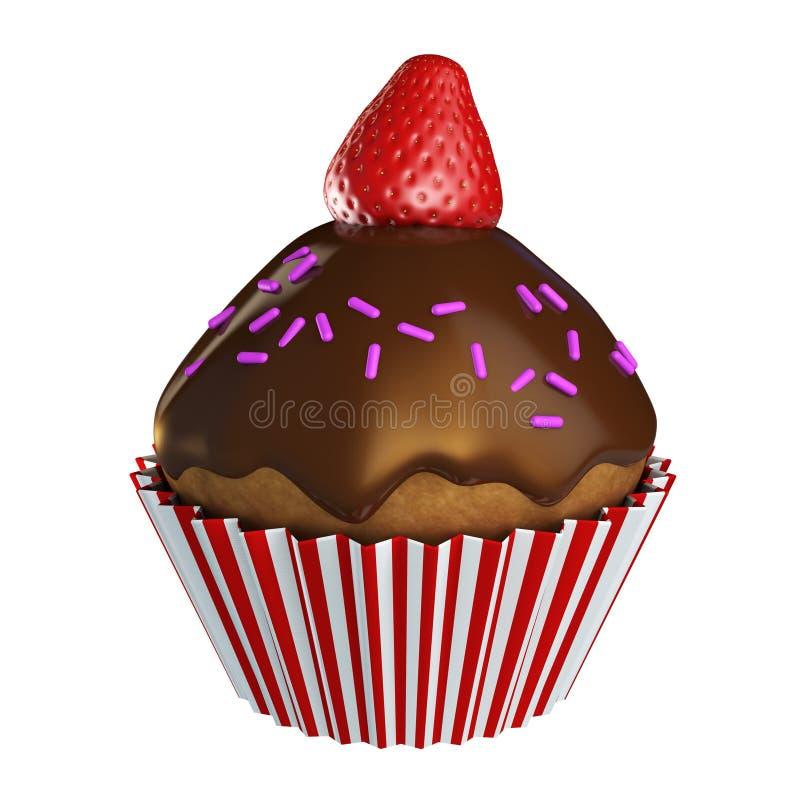 巧克力杯形蛋糕结冰和草莓在上面 向量例证