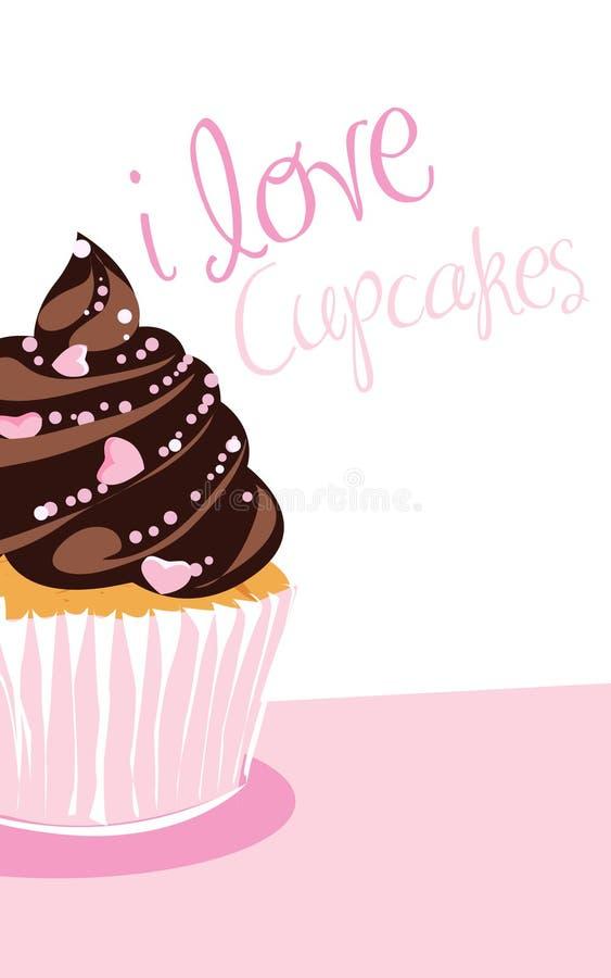 巧克力杯形蛋糕 库存例证