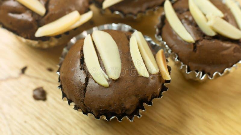 巧克力果仁巧克力杯子蛋糕家做了紧密图象 库存图片
