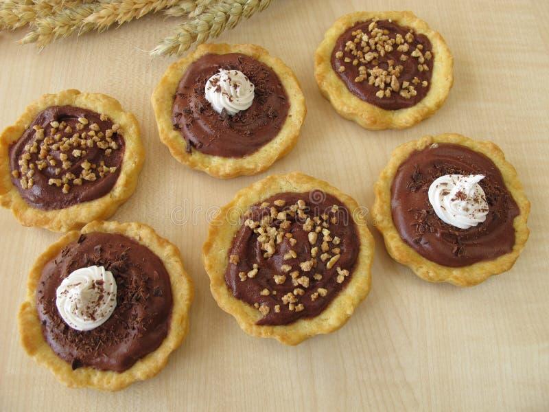 巧克力果子馅饼和杏仁果子馅饼 免版税库存图片