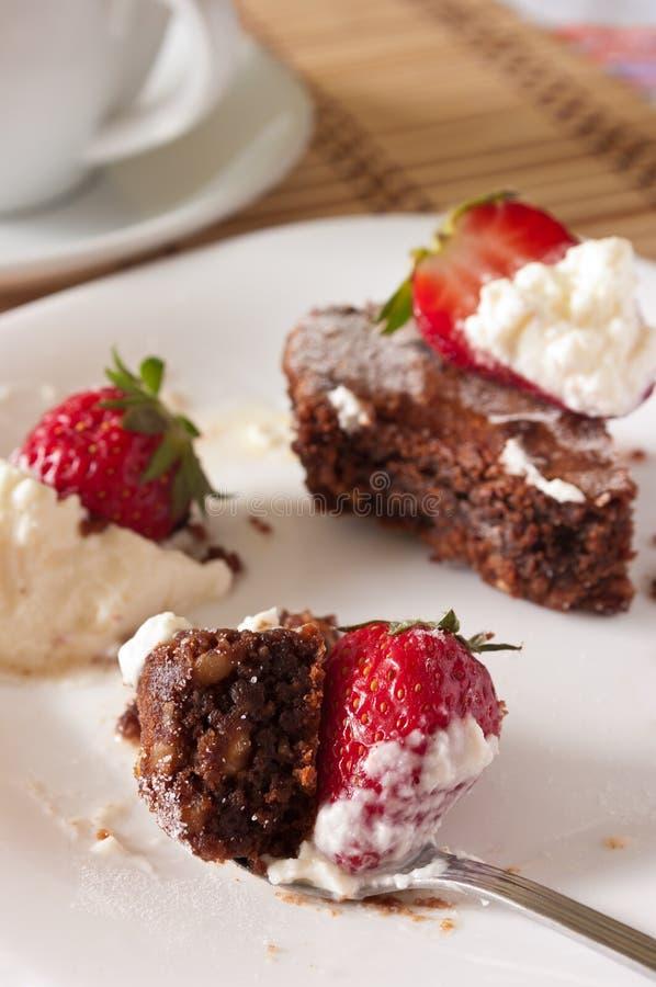 Download 巧克力果仁巧克力和草莓可口叮咬与鞭打 库存照片. 图片 包括有 美味, 奶油, 点心, 可可粉, 搽粉, 鞭打 - 30334562