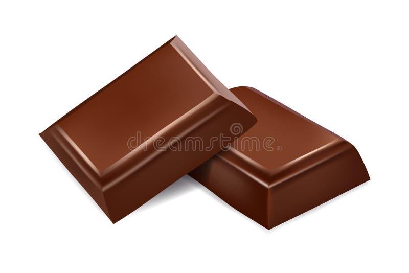 巧克力查出的部分 3D现实传染媒介 向量例证