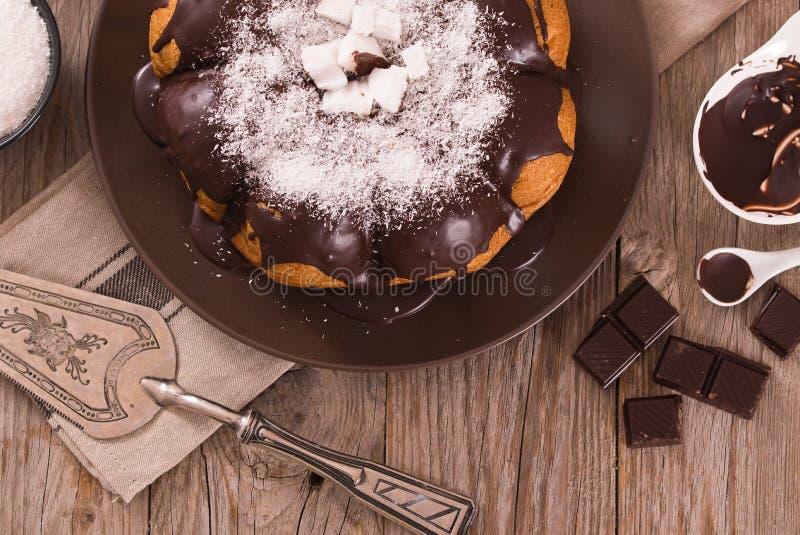 巧克力椰子蛋糕 免版税库存图片