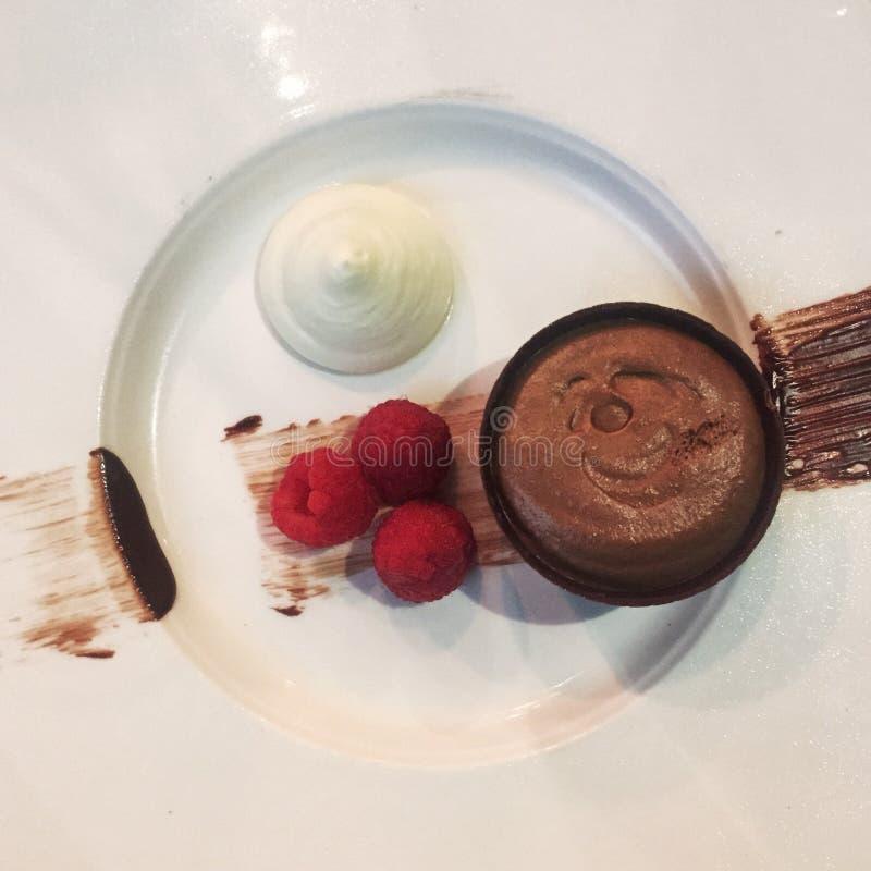 巧克力沫丝淋用莓 图库摄影