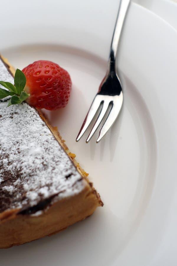 巧克力点心叉子草莓 库存图片