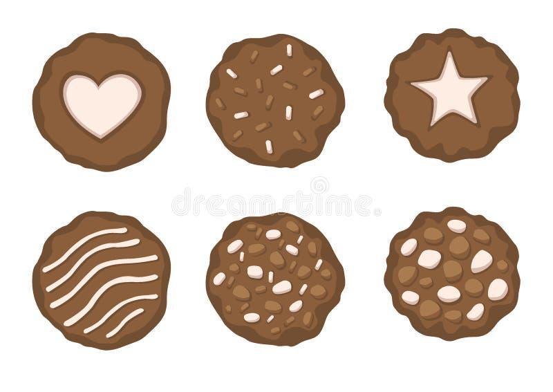 巧克力烘烤了在白色背景例证传染媒介的曲奇饼 皇族释放例证