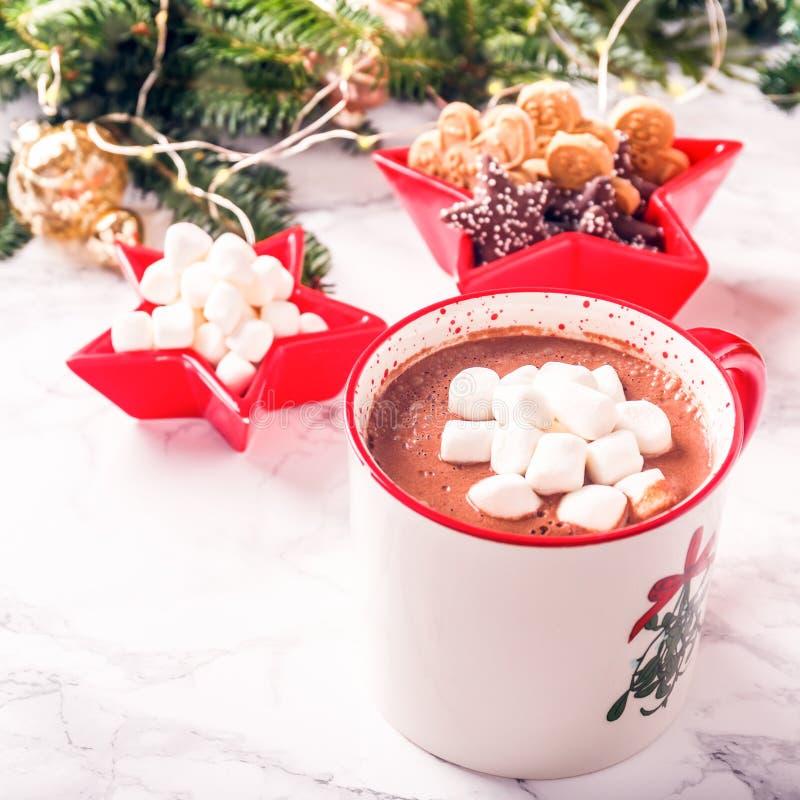 巧克力热饮用蛋白软糖和曲奇饼在Xmas设置backg 免版税库存图片