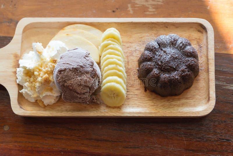 巧克力熔岩蛋糕集合 库存照片