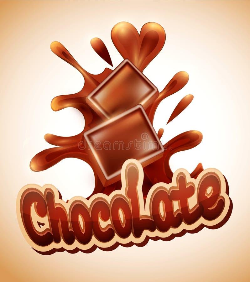 巧克力片落入熔化choc 库存例证