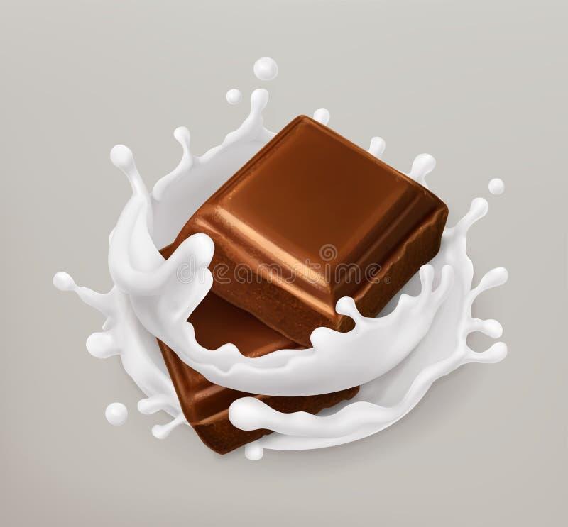 巧克力牛奶飞溅 巧克力和酸奶 3d图标向量 库存例证
