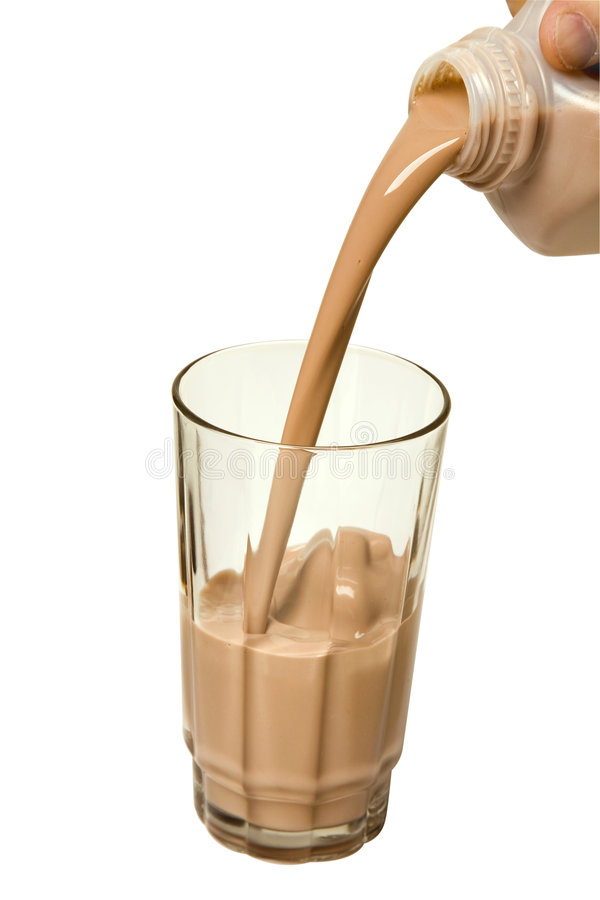 巧克力玻璃牛奶倾吐 免版税图库摄影
