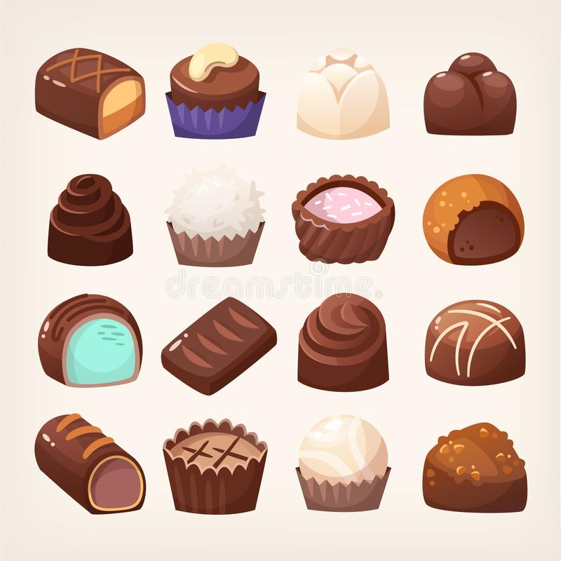 巧克力甜点的广泛选择 皇族释放例证