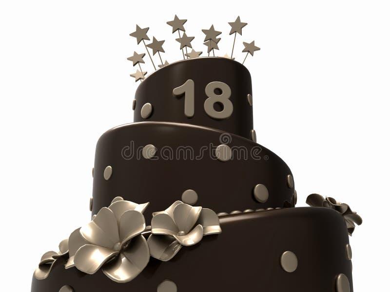 巧克力生日蛋糕- 18年 库存例证