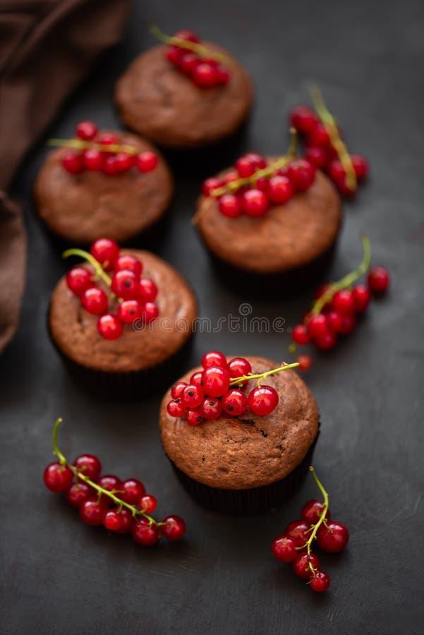 巧克力碎片松饼装饰了在黑暗的木背景的红浆果莓果 r r 免版税库存照片