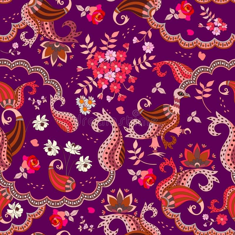 巧克力箱子设计 与在黑暗的紫色背景和不可思议的鸟的种族无缝的样式在传染媒介隔绝的佩兹利、花 皇族释放例证