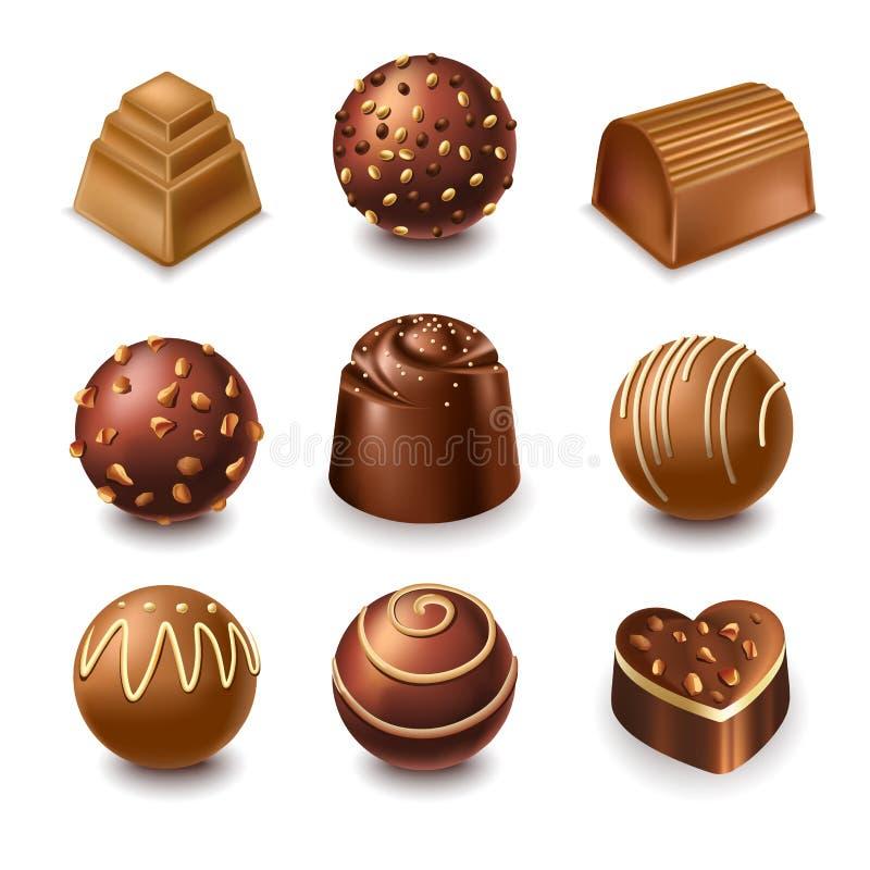 巧克力糖和酒馅的巧克力甜点导航3D现实象收藏 皇族释放例证