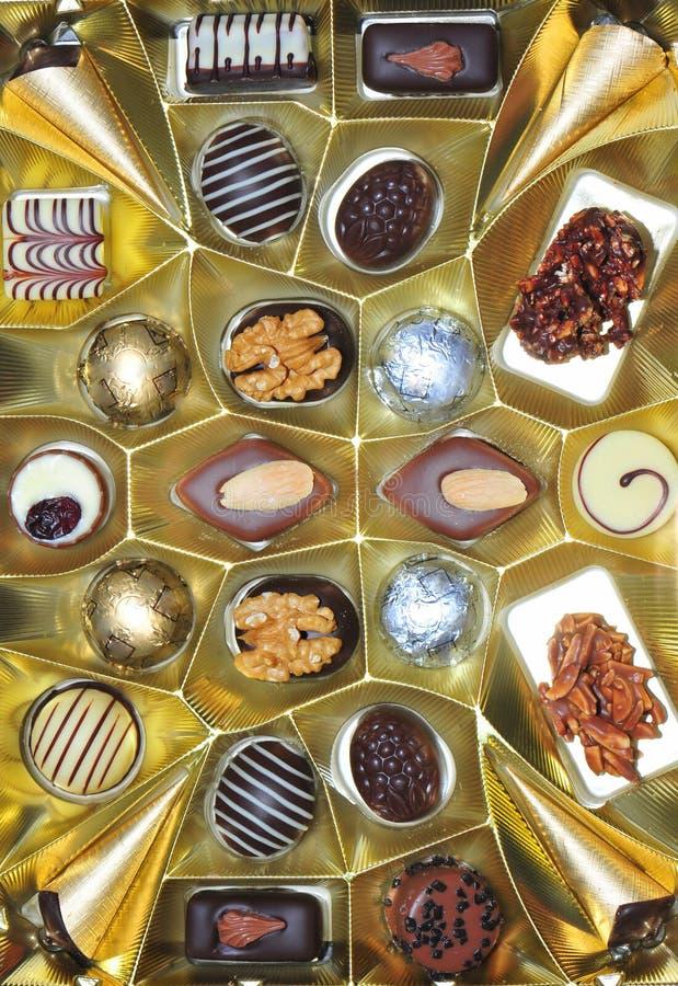 巧克力糖果的分类 免版税库存照片