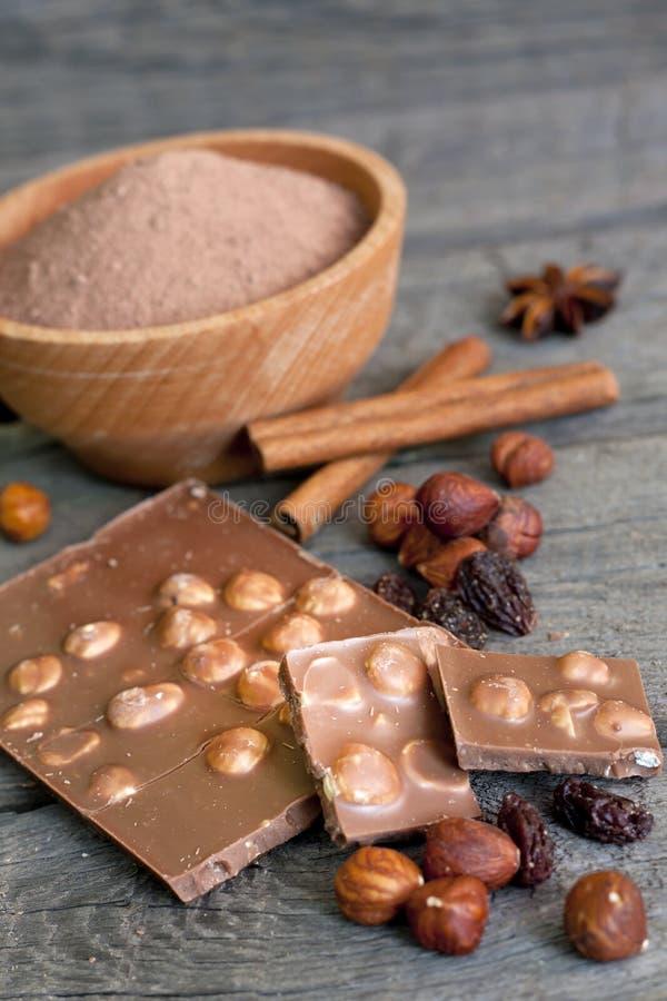 巧克力胡说的可可粉和成份 图库摄影