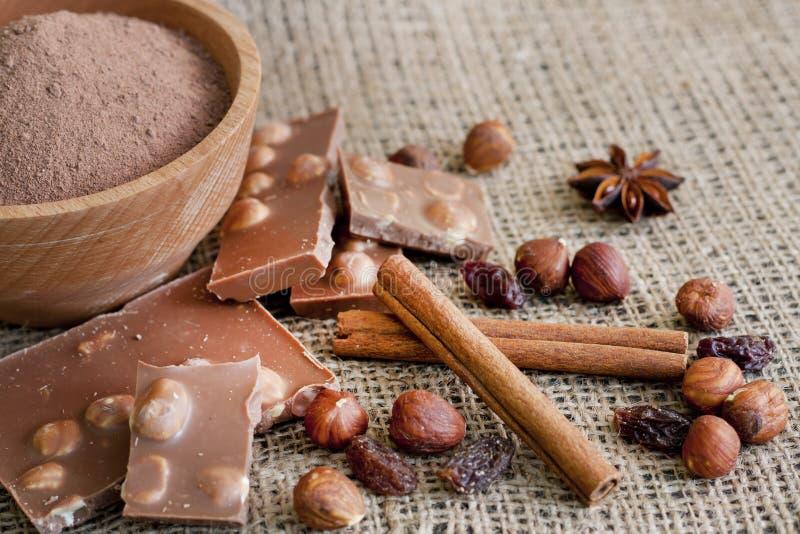 巧克力胡说的可可粉和成份 库存照片
