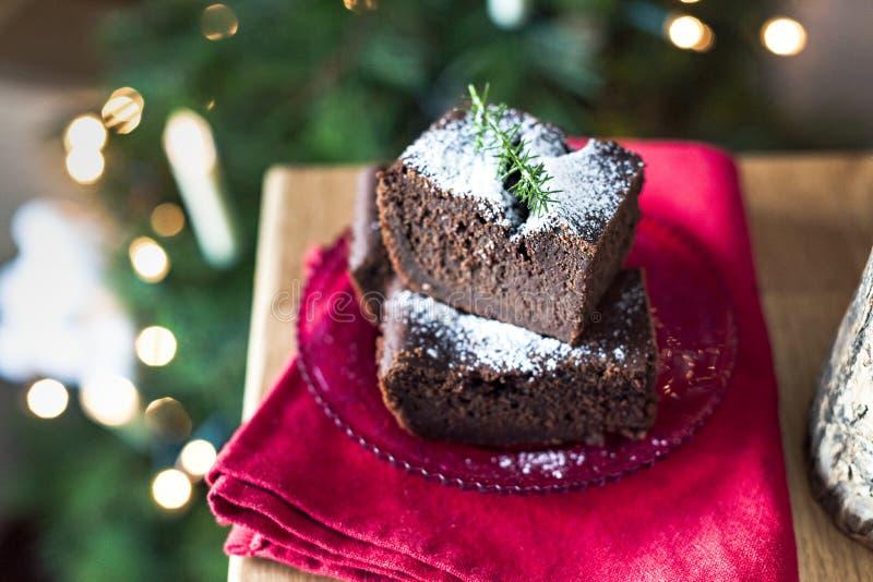 巧克力自创早餐的圣诞节蛋糕为假日 文本的空位 库存照片