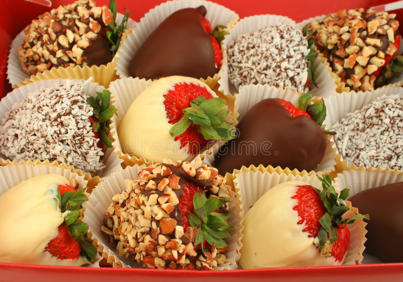 巧克力蘸了草莓 库存照片