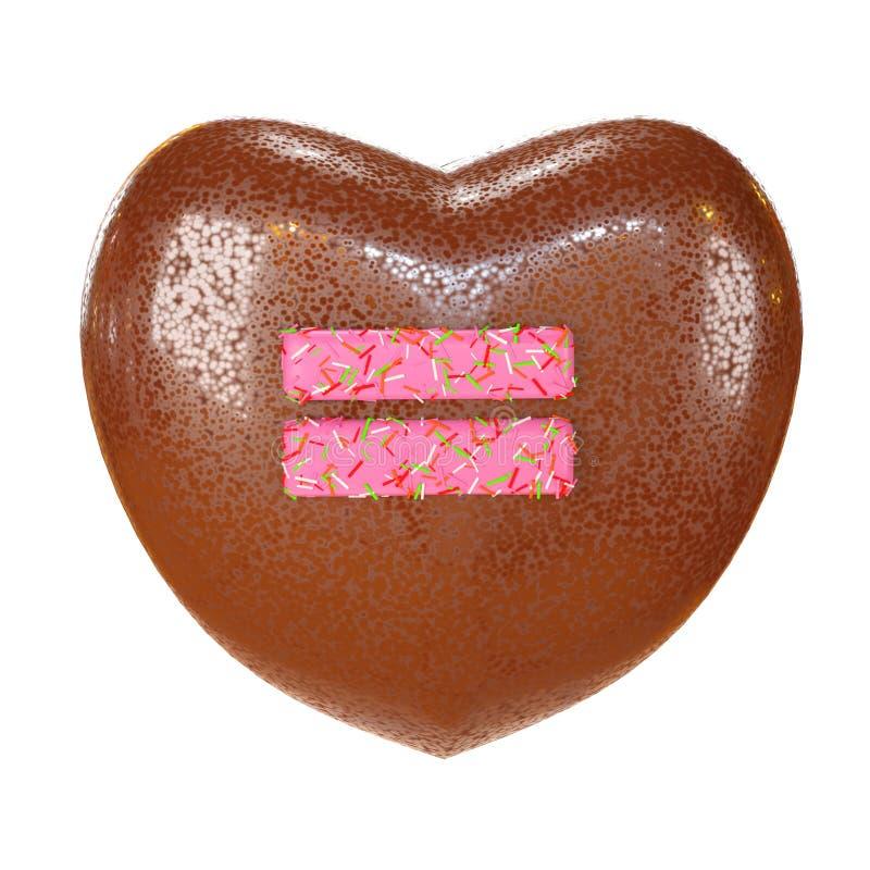 巧克力蛋糕与五颜六色的多福饼字体洒 可口桃红色相等的算术标志 3d例证回报 库存例证