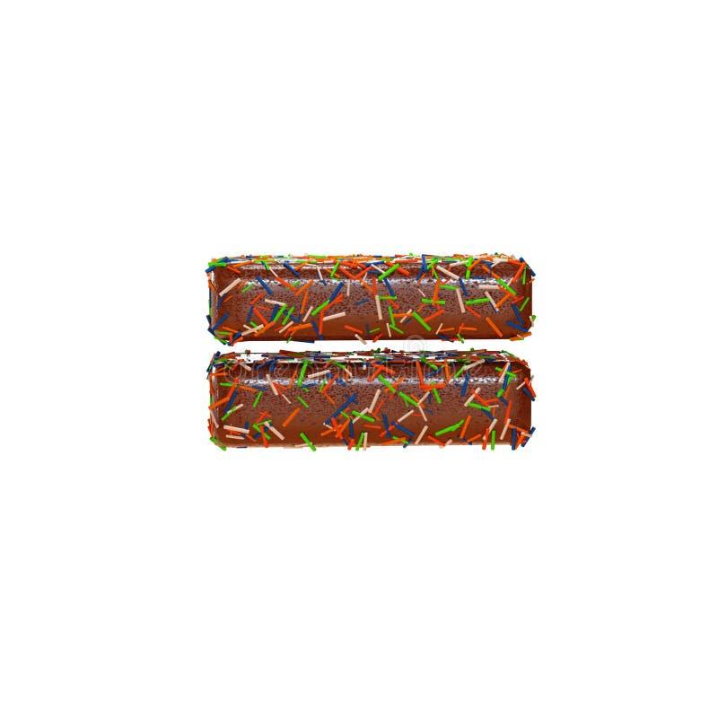 巧克力蛋糕与五颜六色的多福饼字体洒 可口相等的算术标志 3d例证回报 皇族释放例证