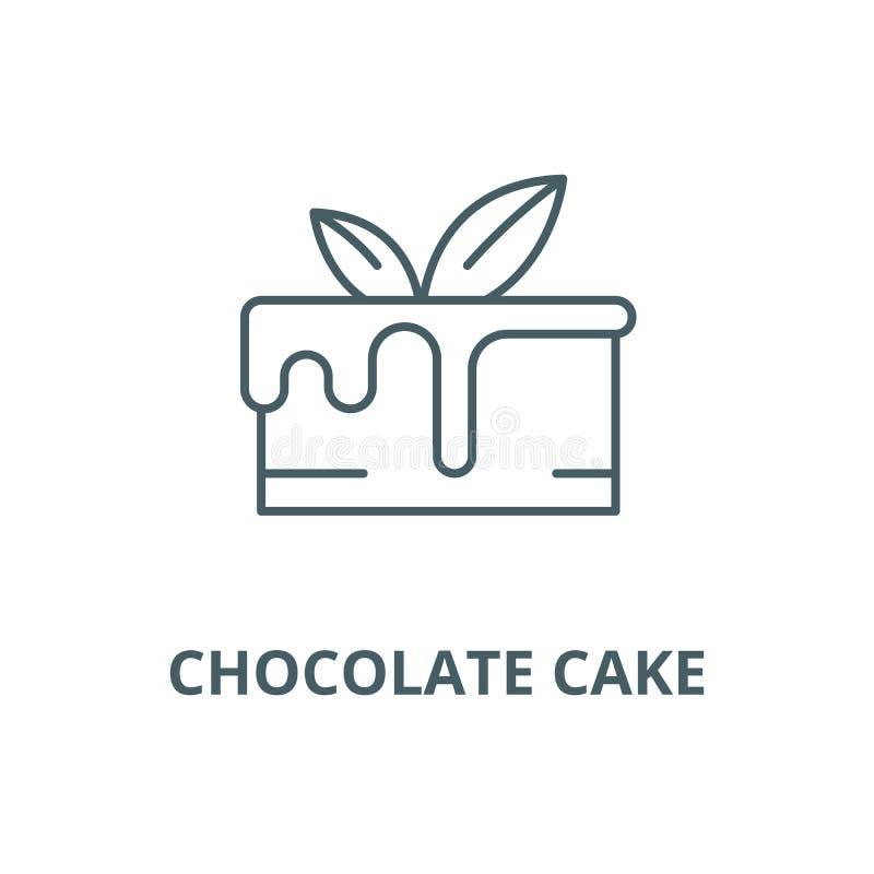 巧克力蛋糕传染媒介线象,线性概念,概述标志,标志 向量例证