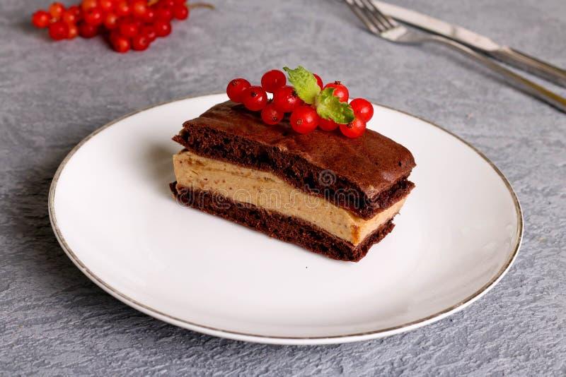 巧克力蛋糕切片用红浆果 免版税库存图片