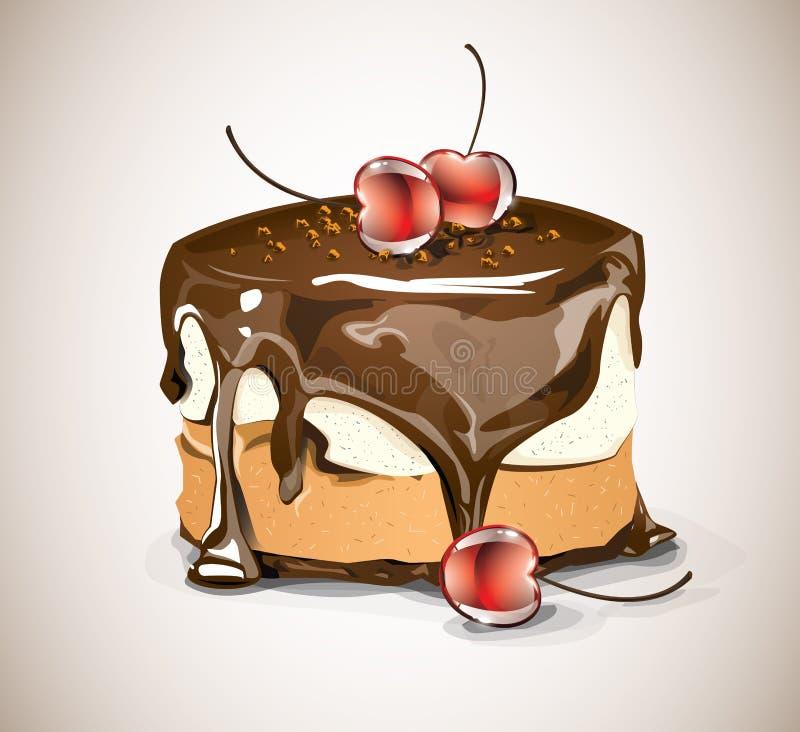 巧克力蛋糕和樱桃 库存例证