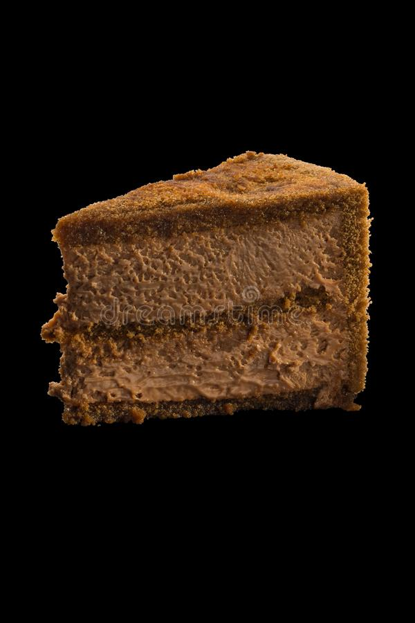 巧克力蛋糕片断与巧克力奶油的 免版税图库摄影