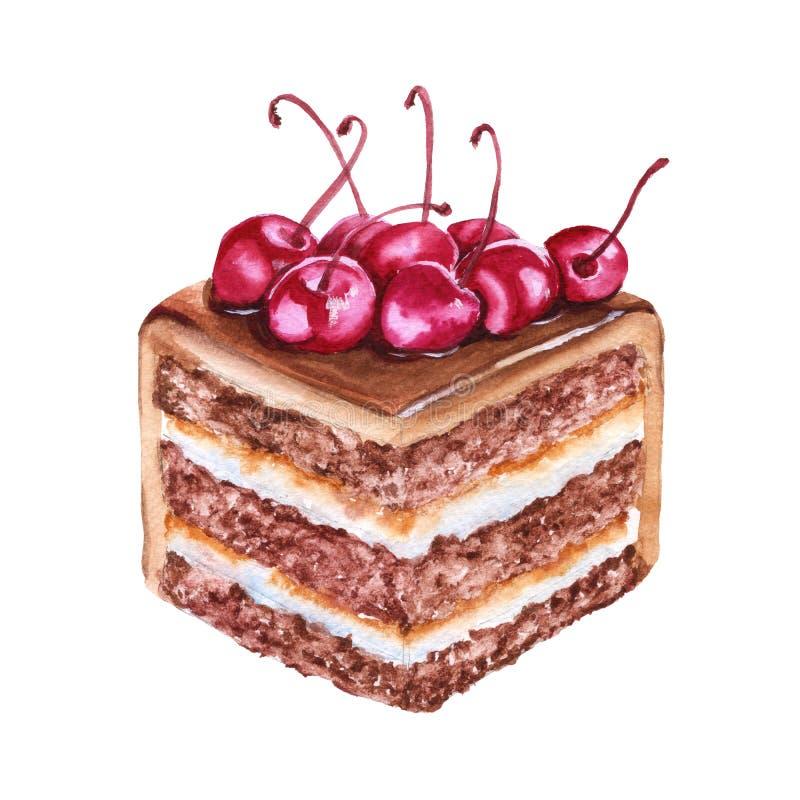 巧克力蛋糕片断用樱桃 背景查出的白色 向量例证