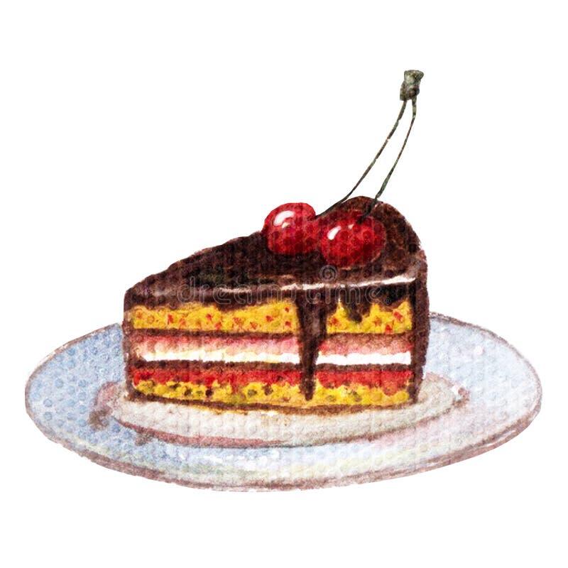 巧克力蛋糕用在板材的樱桃,白色背景 皇族释放例证