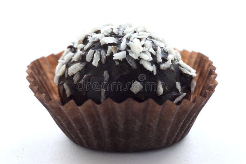 巧克力蛋糕用椰子以在白色背景隔绝的纸形式 免版税库存照片
