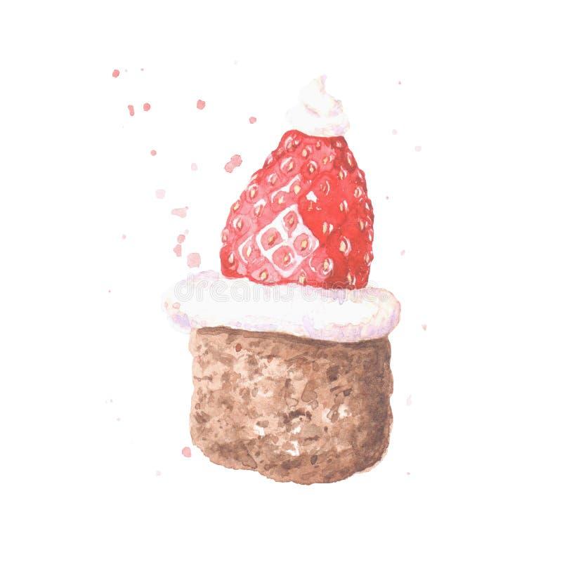 巧克力蛋糕用草莓和奶油 免版税图库摄影