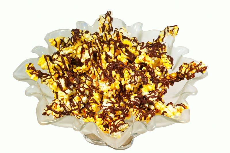 巧克力被系带的玉米花 库存图片