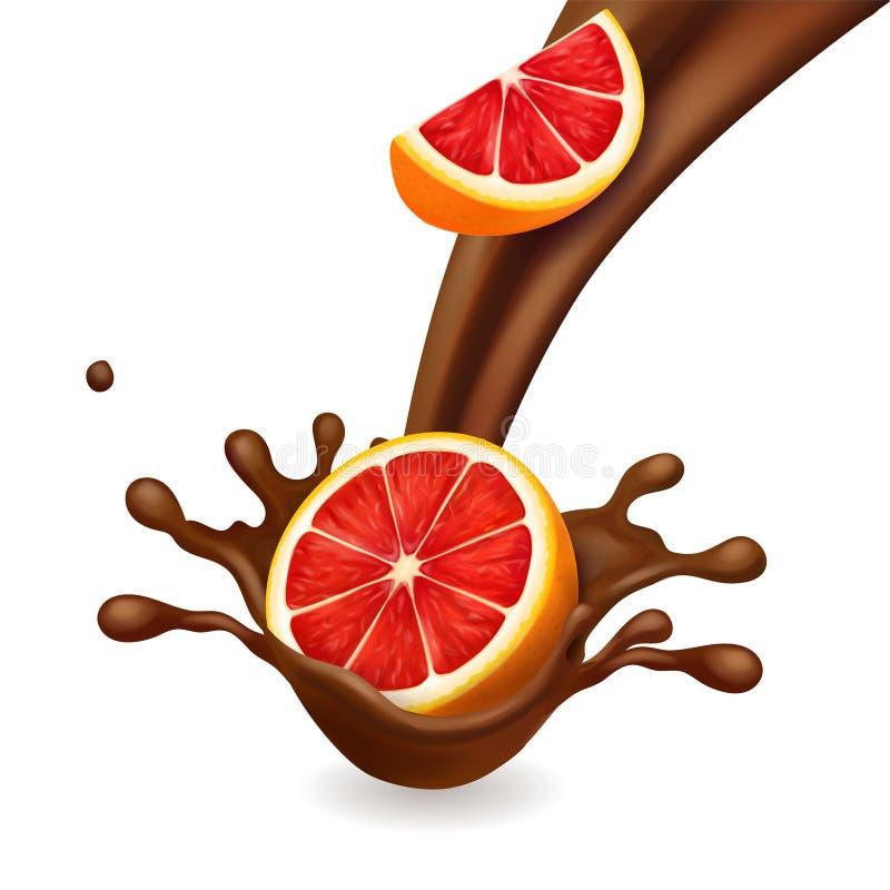 巧克力飞溅用葡萄柚 皇族释放例证