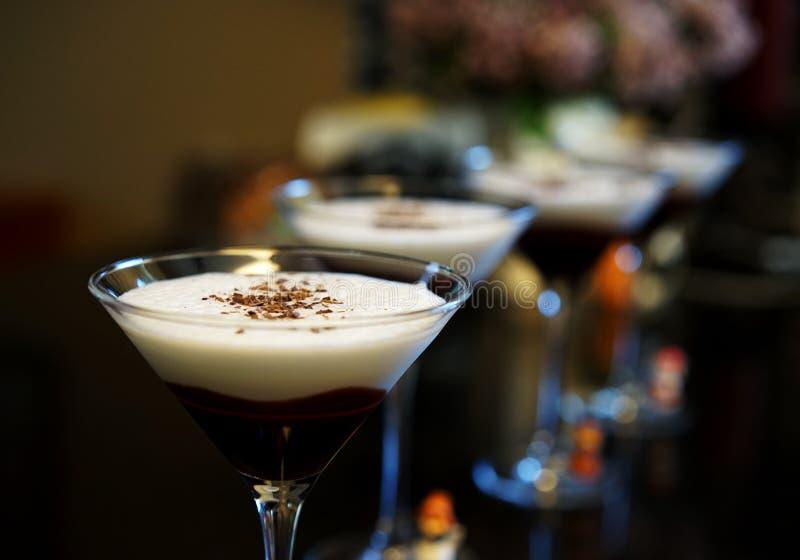 巧克力马蒂尼鸡尾酒是高度神 免版税库存图片